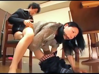 Asian Clothed Hardcore  Mom Old and Young Riding