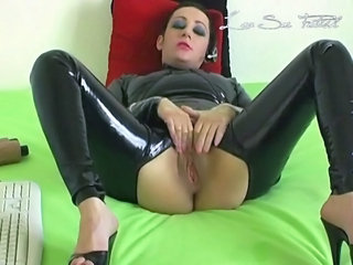 French girl in catsuit play with dildo on webcam