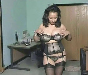 Amazing Big Tits Lingerie  Natural Stockings Stripper