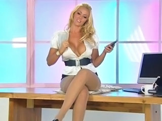 Amazing Big Tits  Office Pornstar Secretary Silicone Tits Solo Stockings Stripper