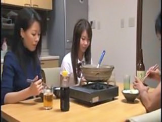Asian Daughter Family Japanese Kitchen Mom Old and Young