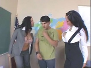Big Tits  School Threesome