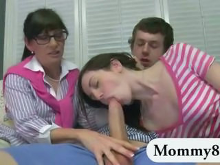 Blowjob Daughter Family Glasses Mature Mom Old and Young Sister Teen Threesome