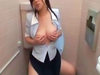 Asian Masturbating  Secretary Toilet