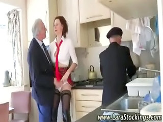 Kitchen Mature Stockings Threesome Uniform