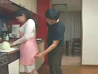 Asian Japanese Kitchen Mature Mom Old and Young
