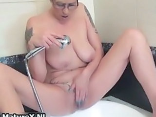 Bathroom Glasses Masturbating Mature Tattoo
