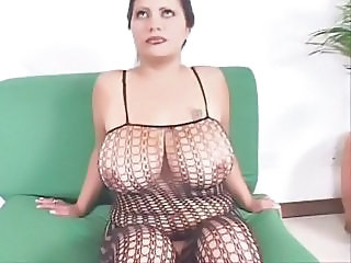 Big Tits Chubby Fishnet Lingerie  Natural