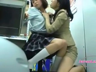 Asian Lesbian  Old and Young Student Teen Uniform