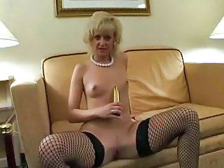 Dildo European Fishnet German  Small Tits Stockings Toy