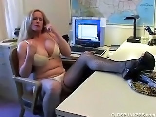 Big Tits Lingerie  Office Secretary Stockings