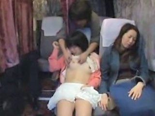 Asian Bus Daughter Mom Old and Young Public Sleeping Teen