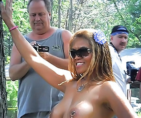 Amateur Ebony  Nudist Outdoor Piercing Public