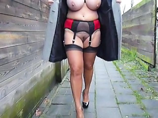 Amateur Big Tits Chubby Lingerie  Outdoor Public  Stockings