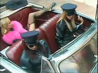 Amazing Car Latex Lesbian  Stockings Uniform
