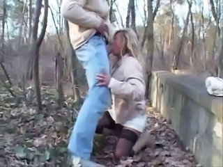 Blowjob  Outdoor Stockings