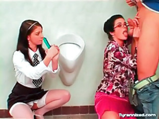 Blowjob Clothed Glasses  Old and Young Student Teacher Teen Threesome Toilet Uniform