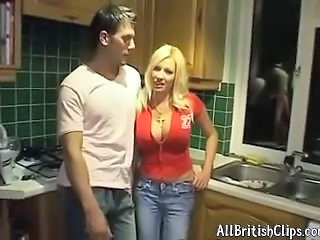 Amazing Big Tits Blonde Jeans Kitchen