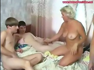 Amateur Family Gangbang Handjob Mature Mom Old and Young  Small cock