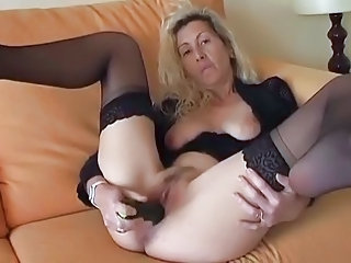 Masturbating Mature  Stockings Toy