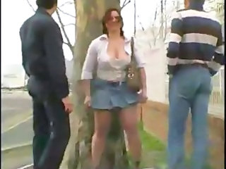 Amateur Chubby  Outdoor Public Skirt Threesome