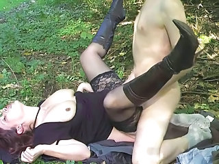 Clothed Hardcore Mature Outdoor Stockings