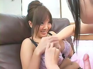 Asian Big Tits Japanese Lesbian Lingerie  Natural Strapon
