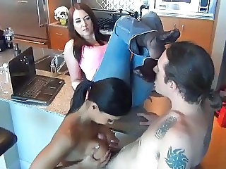 Kitchen  Tits job Threesome