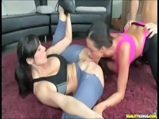 Clothed Licking  Sport Threesome