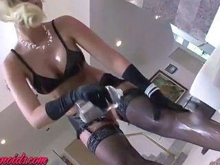 Lingerie  Oiled Pornstar Stockings