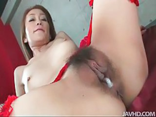 Asian babe gets her juicy pussy filled full of dick tubes