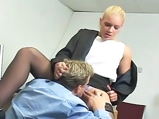 Blonde Clothed Licking  Office Secretary Stockings