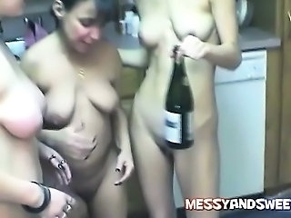 3 amateur girls and 3 bottles of wine