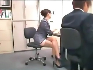 Asian Glasses Legs  Office Secretary Stockings
