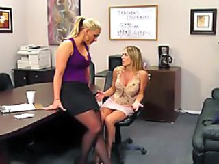 Big Tits Lesbian  Office Secretary Stockings