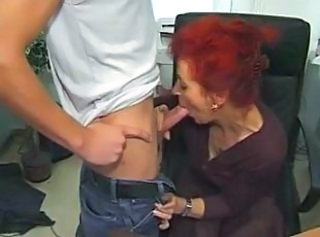 Blowjob Granny Office
