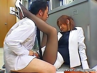 Asian Clothed Japanese Legs  Office Pantyhose Secretary