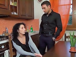 European Italian Kitchen Mature Mom Old and Young