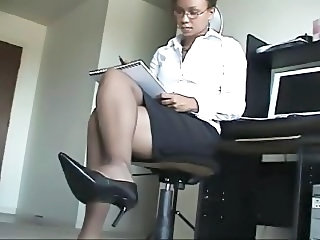 Ebony Glasses Legs  Secretary Stockings
