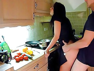 Amateur Clothed Homemade Kitchen Wife