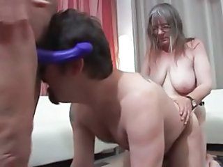 European Femdom German Granny Strapon Threesome
