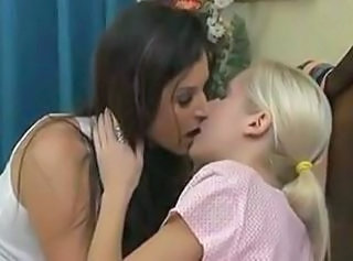 Kissing Lesbian  Old and Young Teen
