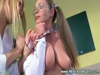 Big Tits Femdom Glasses Lesbian   Natural Student Teacher
