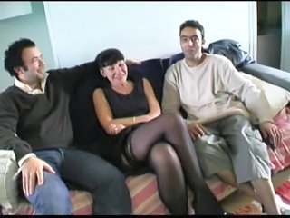 European French Mature Old and Young Stockings Threesome
