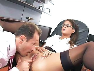 Clothed Glasses  Office Pornstar Pussy Secretary Shaved Stockings