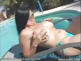 Big Tits Bikini Glasses  Outdoor Panty Pool