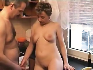 Amateur Homemade Kitchen Mature Mom Older