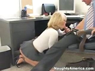 Blonde Blowjob Clothed  Office Secretary