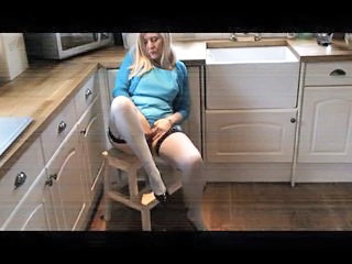 Amateur Kitchen Masturbating Mature Solo Stockings Wife