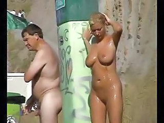 Big Tits  Natural Nudist Outdoor Public Showers Voyeur